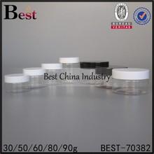 Various High Quality Plastic Jars, Plastic cosmetic Jars Wholesale, Plastic Bottles Manufacturer, white and black cap