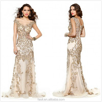 Gorgeous Capped Sleeve Bateau Sheer Neck Heavy Beaded Sheath Long Express Delivery Prom Dresses