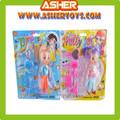 3.5 polegadas plástico boneca linda com 5 peças vestido acima do jogo