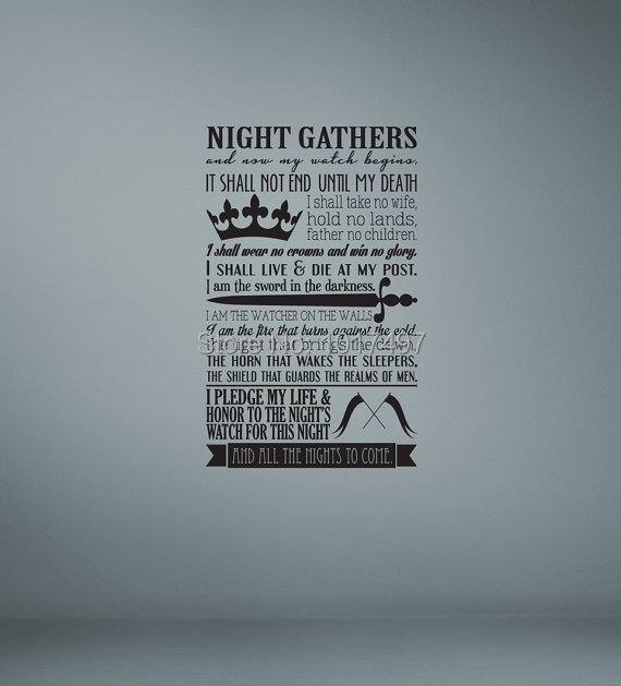 Watch The Throne Poster Poster Night's Watch Oath