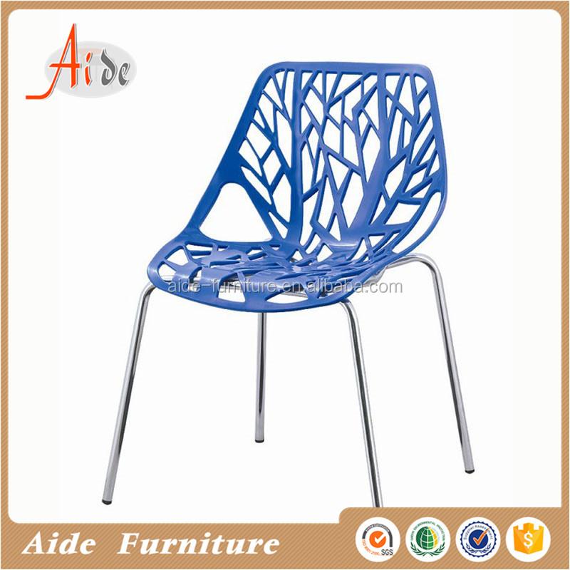 Barato al aire libre sillas de plástico en patas de metal
