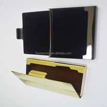 stainless steel metallic aluminum leather man's credit id card holder gift set