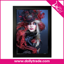 Hot Sell Handmade Black Frame Beautiful Lady Oil Painting