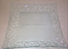 30cm square clear Glass dessert Plates and cake plates with decorative pattern