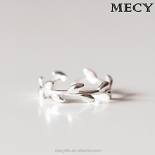 MECY LIFE leaf-shaped handmade S925 sweet girl fashion simple popular opening female quantity limted Olive Ring