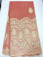 african silk george/african beaded embroidery georges/african raw silk george G612