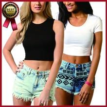 2015 hot sale high quality wholesale women summer short sleeve plain crop top/blank women t shirt/custom crop top