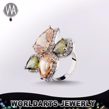 Alloy Zircon Champagne Gold Plated Women Finger Fashion Jewellery Engagement Ring