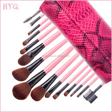 Hot Sale Professional Cosmetics Kit 15pcs Makeup Brushes with Free Snakeskin Grain Bag