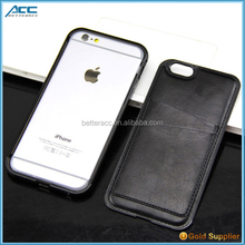 Aluminum bumper + back pu leather cover protective phone case for iPhone 6/6s/plus