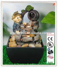 Decorativa de interior fuente de agua de escritorio en miniatura gnome