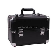2015 New Arrival Black Makeup Case Professional cosmetic box Portable Storage Makeup Kit