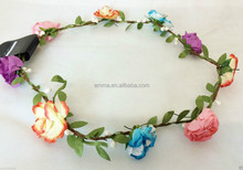 2015 flower headband Bridesmaid Boho Floral Flower head hair band plastic crown headband H5008
