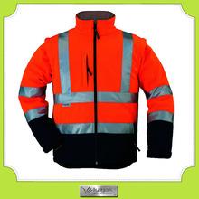 custom workwear warm high visible winter jacket reflective stripes