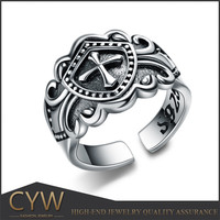 Medieval knight style cross shield tai silver ring made in China guangzhou