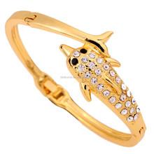 Stylish Cute dolphin shaped gold bracelet 10K yellow gold crystal bangle fashion jewelry manufacturer