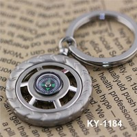 wholesale customized promotional gift metal wheel compass keychain