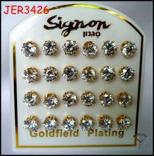 Xuping Real gold plated zircon earring stud
