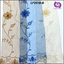 Organza Embroideried (EMB) Home Curtain Fabric with Handmade Flower Design