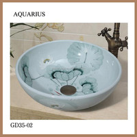 jingdezhen antique chinese small flower antique sink vessel