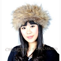 CX-E-06 Natural Colour Genuine Raccoon Dog Fur Elastic Hair Band