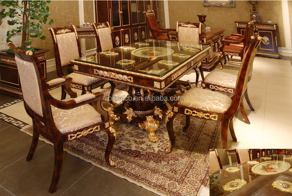Luxury french baroque style dining room sets antique for Luxury dining room furniture