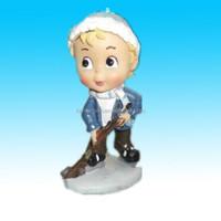 Cute cake topper polyresin hockey player boy figurine