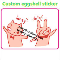 Very strong adhesive destructible vinyl egg shell stickers for graffiti lovers,hotsale custom print10X8cm weatherproof eggshells