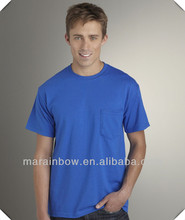 high quality crewneck seamless 100% cotton Royal blue Pocket T-shirt for men wholesale in China