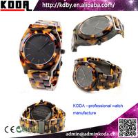 Tortoise Bracelet Plastic Japanese Movement Cheap Price Amber Watches