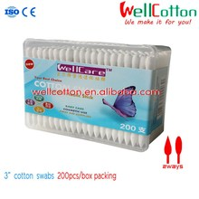 200pcs cosmetic cotton buds tipped 100% pure cotton with Sharp and Drop 2ways tipped