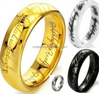 Lord of Rings The One Ring LOTR Titanium Tungsten Ceramic Wedding Engagement NEW