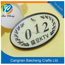 promotional gift shop worker's name badge with safety pin and your logo with numbers in best price and top quality in hot sale