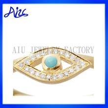 fashion women gold plated diamond evil eye ring