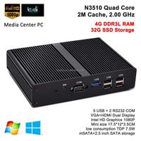 Media Center HTPC Mini PC Case Quad Core Laptop Computer Intel Pentium N3510 2.0G Win7,8 HD 1080P 4G RAM 32G SSD Wifi COM USB3.0