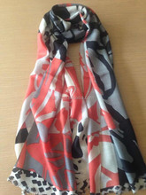 Factory Produce Fashion Mercerized Wool Scarf Wrap, Chinese Brush Drawing 180*70cm Pashm Shawls with Different Color