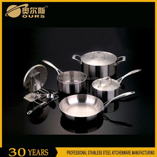 New style 10PCSs stainless steel cookware set removable handle