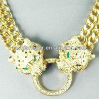 Twin Leopard Jaguar Cat Tiger Crystal Pendant Rhinestone Gold Chain Necklace
