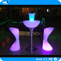 China manufacturing LED lighted up cocktail bar table / promotional LED full color bar table
