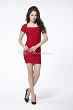 2015 new arrival Sexy Square Short Sleeves red Short Bandage Party Prom Nightclub Cocktail in-alles Dress