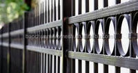 1800 mm *2500 mm 3 rail powder coated steel fence with decorative beautiful circles (20 years warranty)