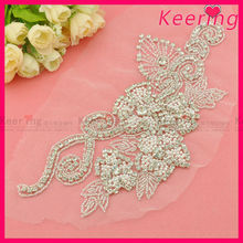 wholesale sew on crystal and pearl rhinestone applique beaded embellishments WRA-474