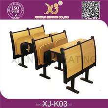 XJ-K03 metal and wooden school desk with chair for sale