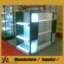Luxury Acrylic Supermarket Shelf With Glass Layers And Light Box
