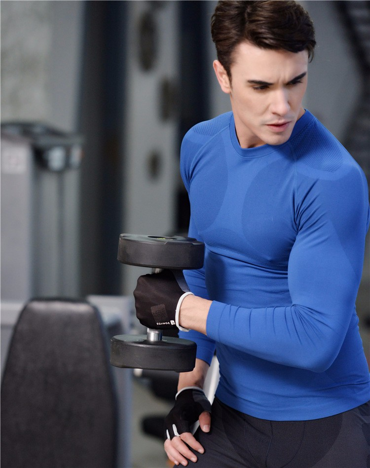Colorful Fashion Slim Fitness Body Shape Men Long Sleeve Shirts Activewear Training Sport Wear 3