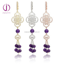 New Design Deluxe Women'S 925 Silver Drop Earrings with bead