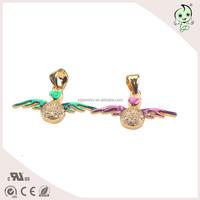 Colorful Enamel Love Angel Wing Design 925 Sterling Silver Pendant