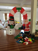 DHL free ship santa and snowman with Christmas inflatable Archway