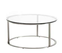 Round Cheap Glass Coffee Table with Chrome Metal