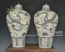 Antique Ming Reproduction Chinese Blue and White Porcelain Dragon Ginger Jars Vases